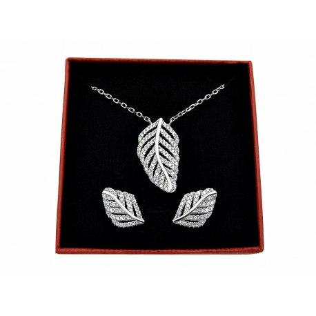 Srebrny komplet liść liście + pudełko
