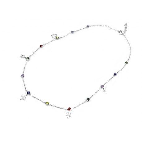 Srebrny naszyjnik z kolorowymi kryształkami + pudełko