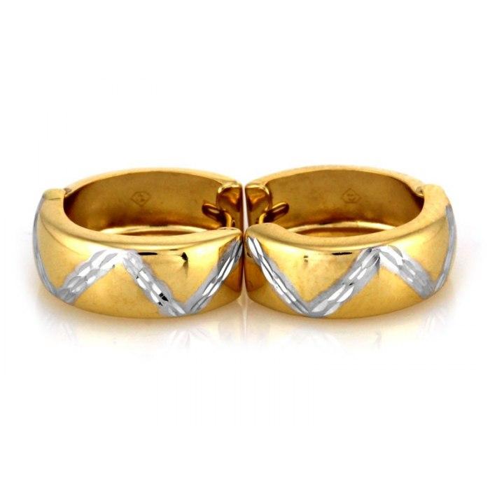 Złote 333 kolczyki diamentowane koła grube