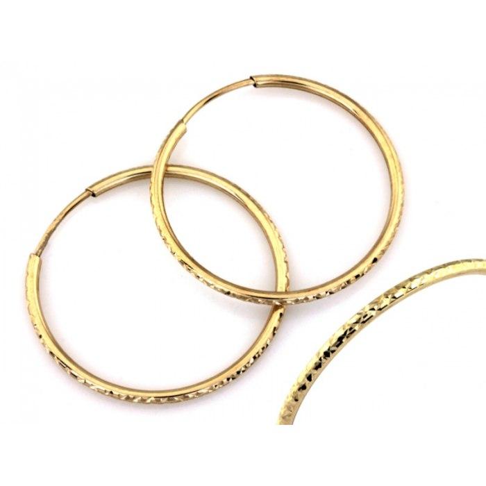 Złote 333 diamentowane kolczyki koła 30 mm + pudełko