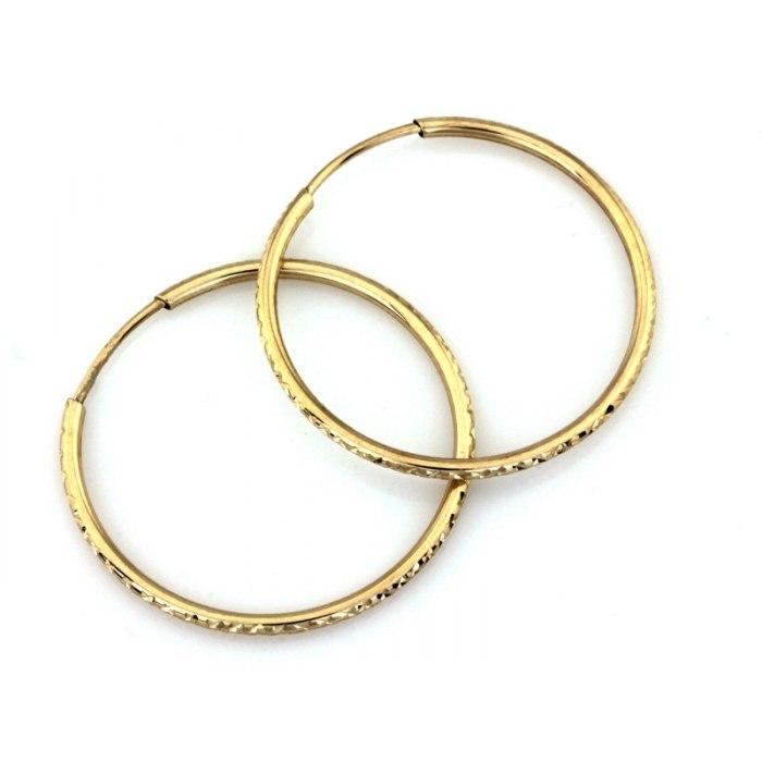 Złote 333 diamentowane kolczyki koła 28 mm + pudełko