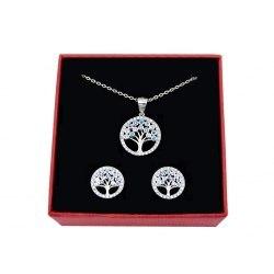 Srebrny komplet kolorowe drzewa cyrkonie 2 + pudełko