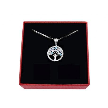 Srebrny naszyjnik kolorowe drzewo cyrkonie 2 + pudełko