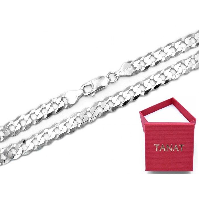 Srebrny łańcuch 60 cm Pancerka 7 mm + pudełko