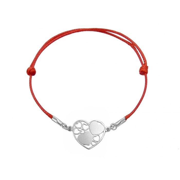 Srebrna sznurkowa bransoletka serce serca