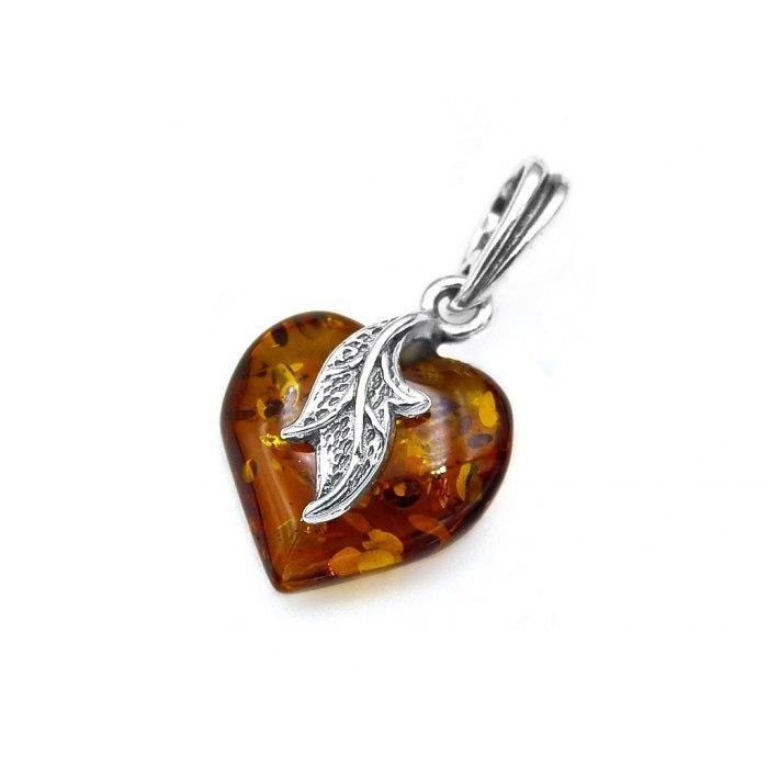 Srebrne serce z bursztynem liść