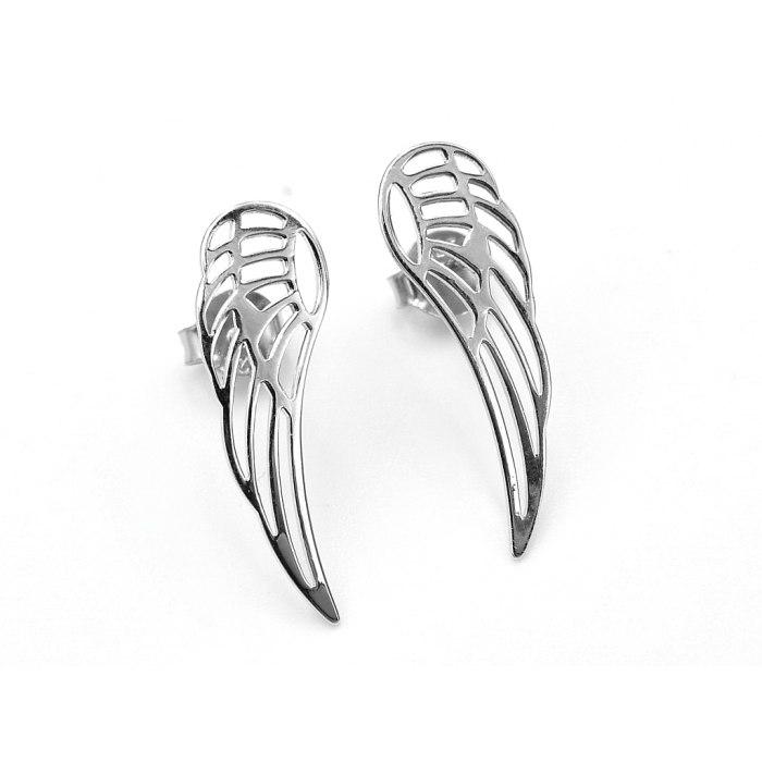Srebrne kolczyki duże skrzydła