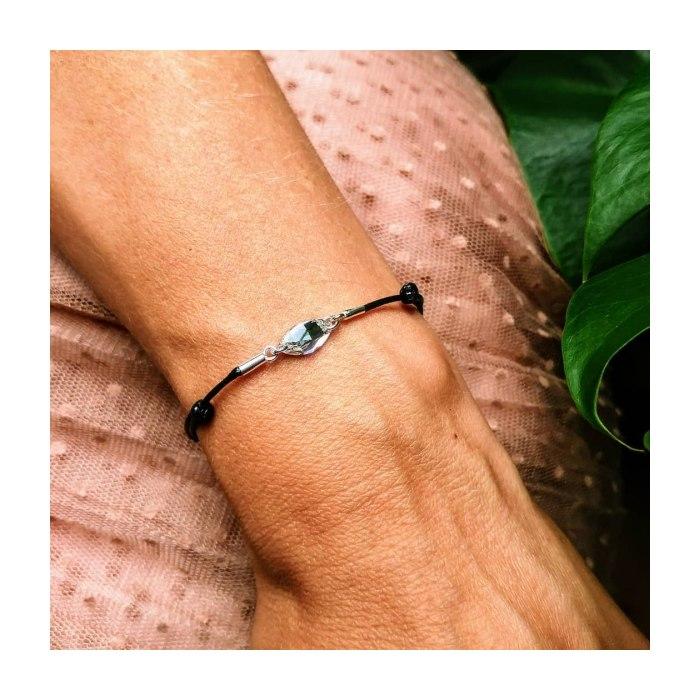 Srebrna sznurkowa bransoletka kryształ Swarovski
