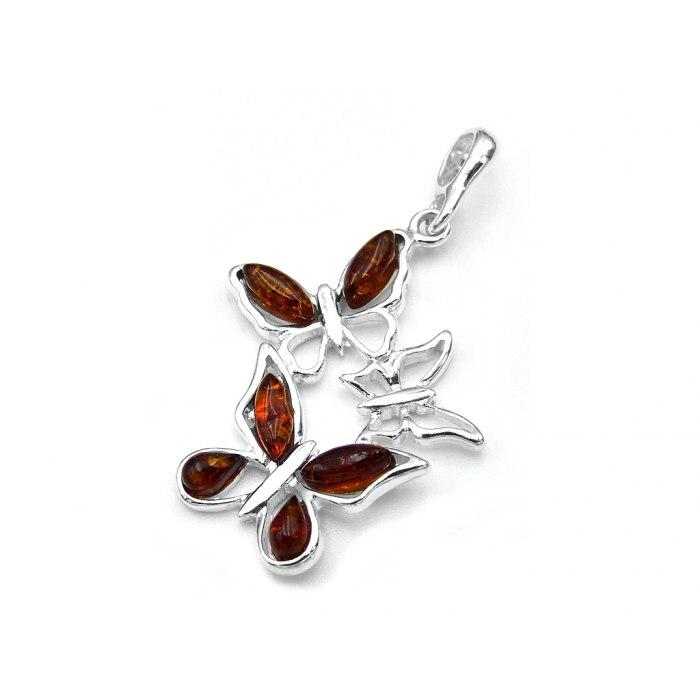 Srebrny wisiorek motyle z bursztynem brąz