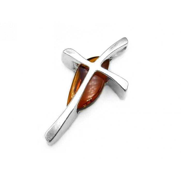 Srebrny krzyż krzyżyk z bursztynem