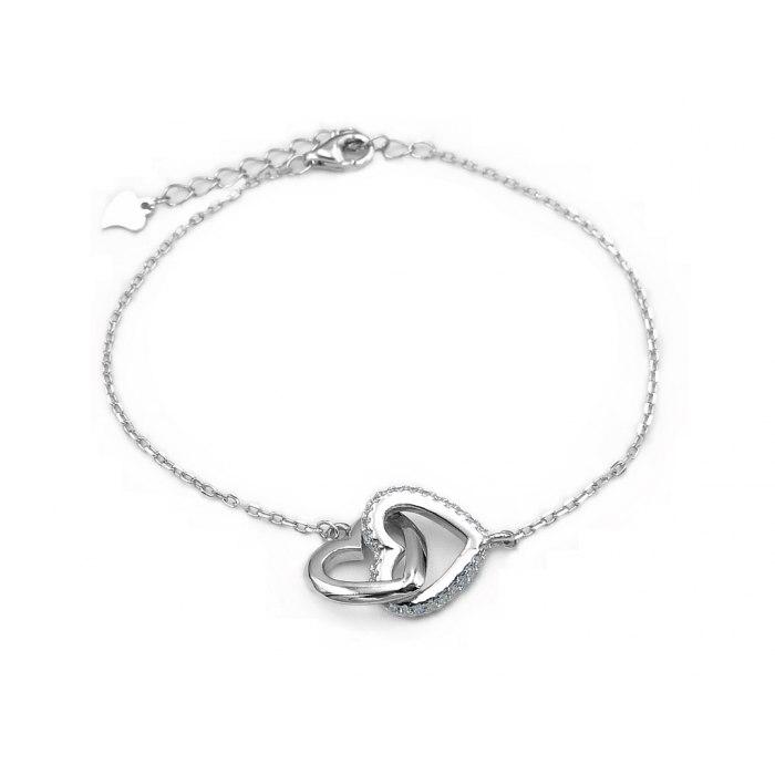 Srebrna bransoletka dwa połączone serca
