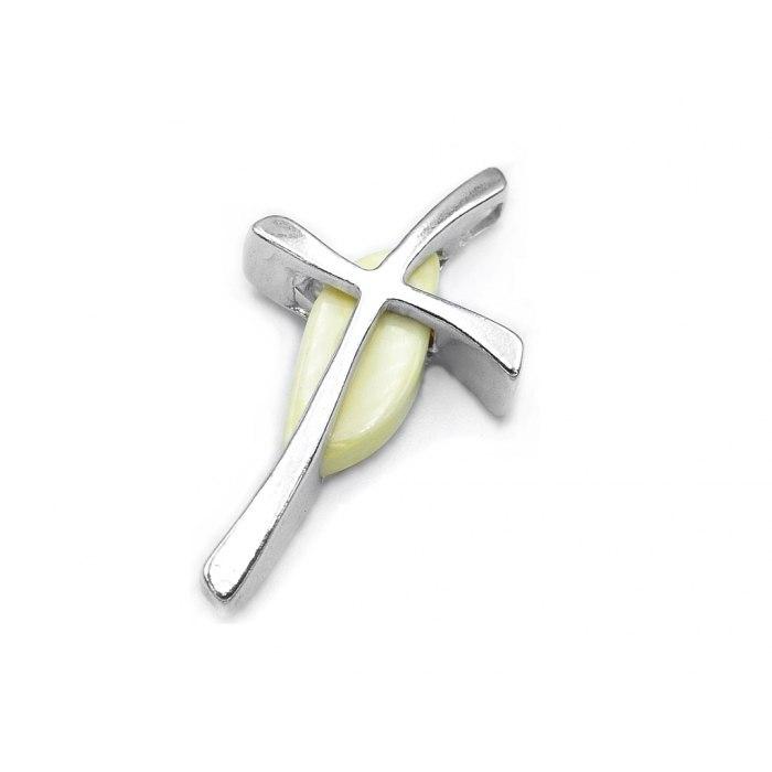 Srebrny krzyż krzyżyk z mlecznym bursztynem