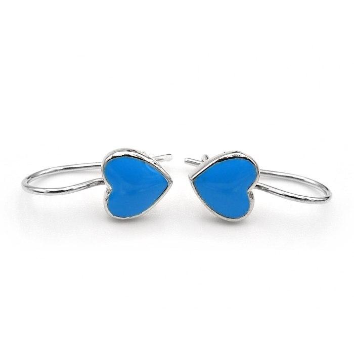 Srebrne emaliowane kolczyki niebieskie serca