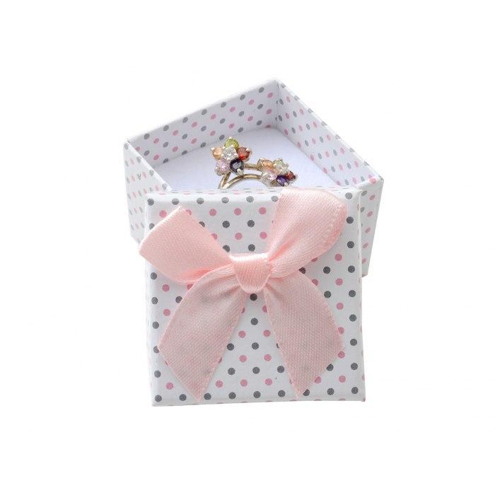 Pudełko 4x4x3 cm różowe w kropki kokarda