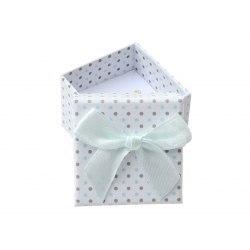 Pudełko 4x4x3 cm białe w kropki kokarda