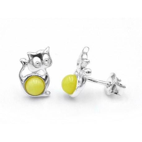 Srebrne kolczyki żółty koty bursztyn