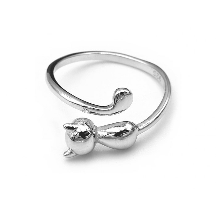 Srebrny pierścionek kot kotek