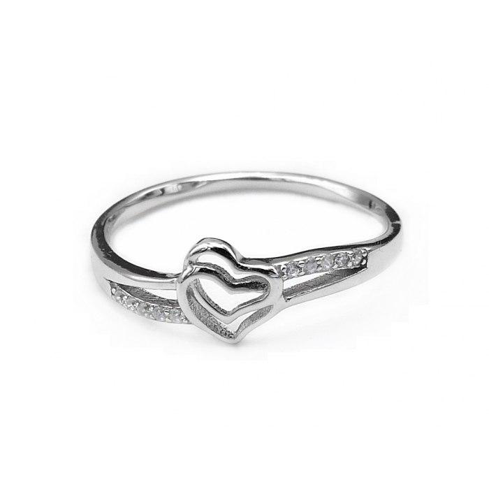 Srebrny pierścionek dwa serca R. 15