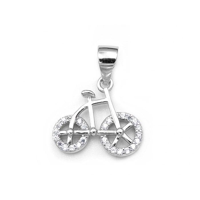 Srebrny wisiorek rowerek rower z cyrkoniami