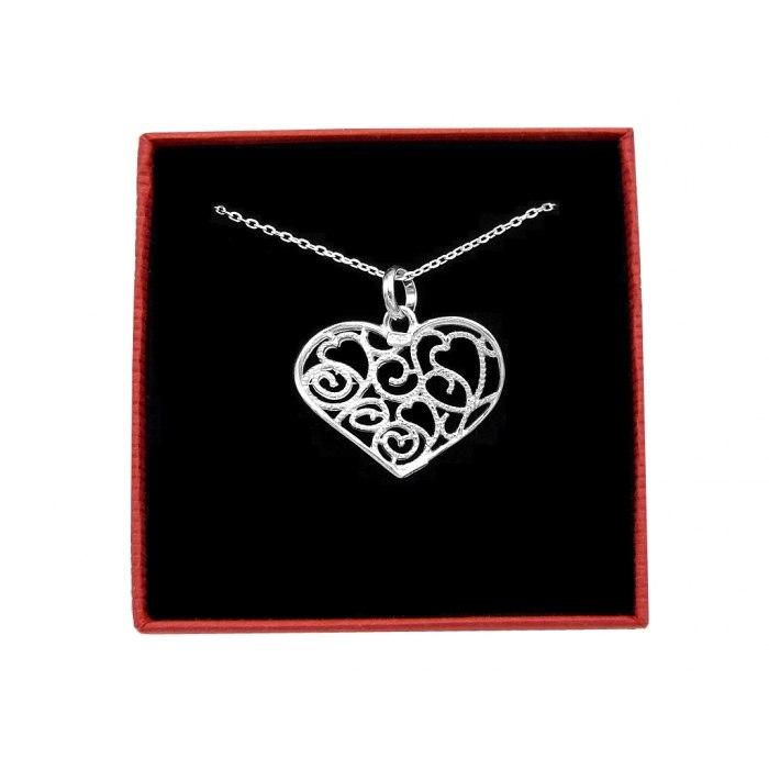 Srebrny naszyjnik 50 cm falowane serce + pudełko