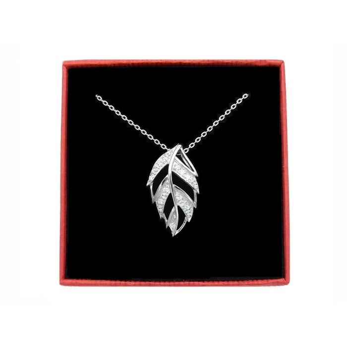 Srebrny naszyjnik 50cm liść cyrkonie + pudełko