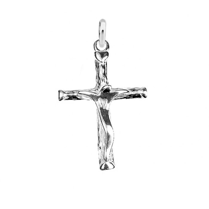Srebrny wisiorek krzyż krzyżyk z Jezusem
