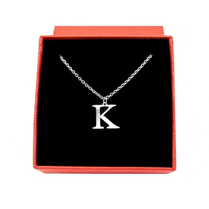 Srebrny naszyjnik literka litera K + pudełko