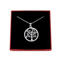 Srebrny naszyjnik 50cm drzewo mix + pudełko
