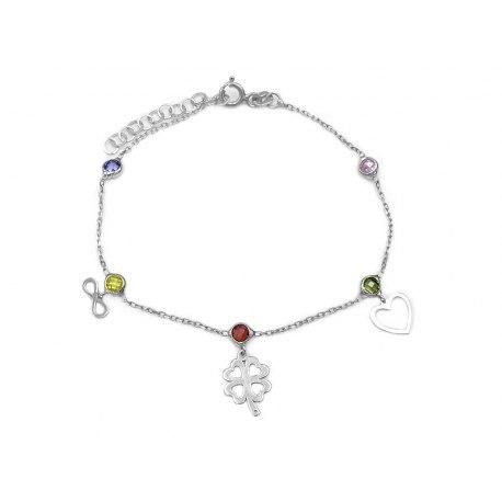Srebrna bransoletka mix kryształki koniczynka