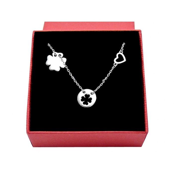 Srebrny naszyjnik koniczynka serce + pudełko