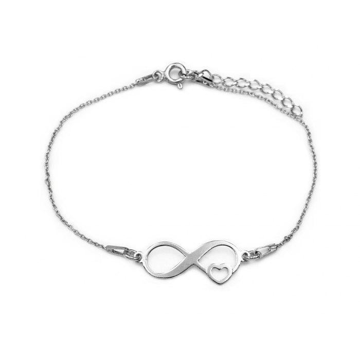 Srebrna bransoletka nieskończoność serce