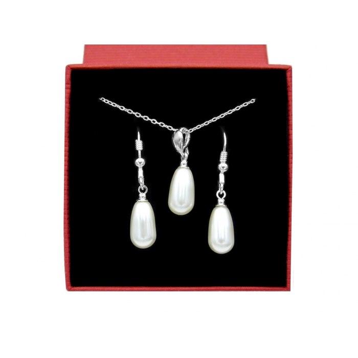 Srebrny komplet długie perły + pudełko