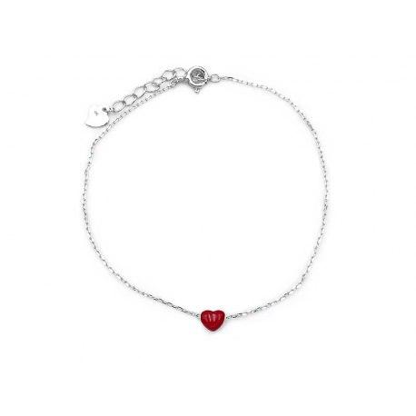 Srebrna bransoletka czerwone serce