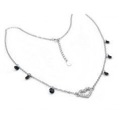 Srebrny naszyjnik serce czarne kryształki