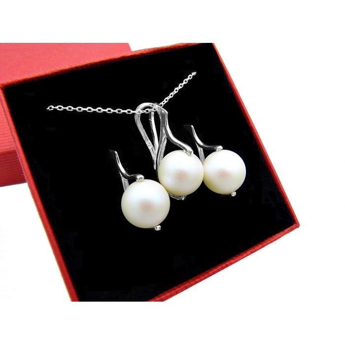 Srebrny komplet okrągłe perły 10 mm + pudełko