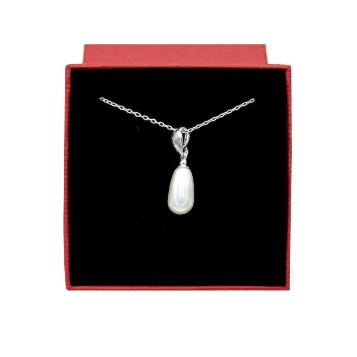 Srebrny naszyjnik długa perła + pudełko