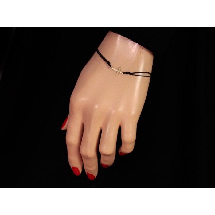 Złota 333 czarna bransoletka z krzyżem