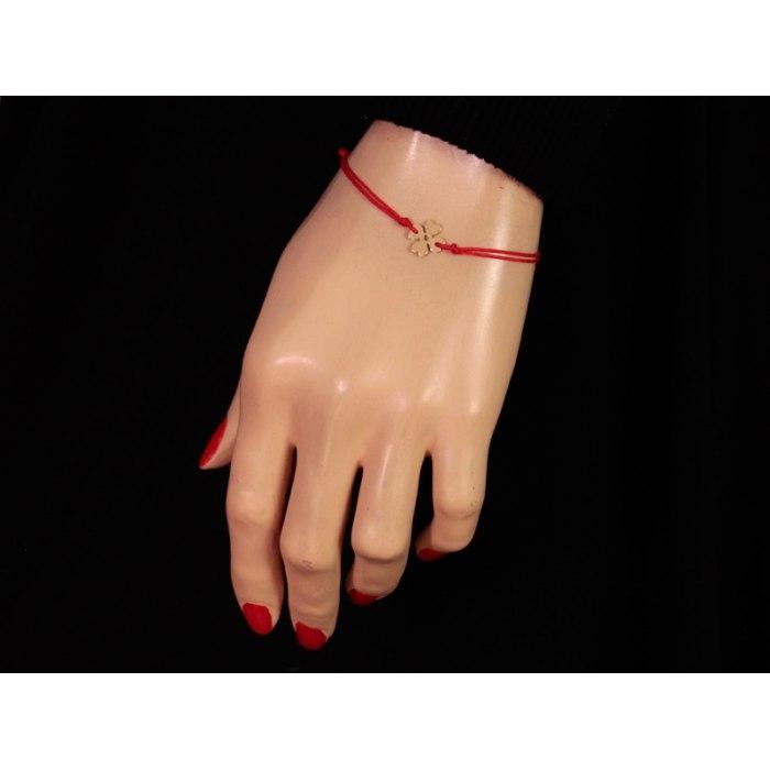 Złota 333 czerwona sznurkowa bransoletka koniczyna