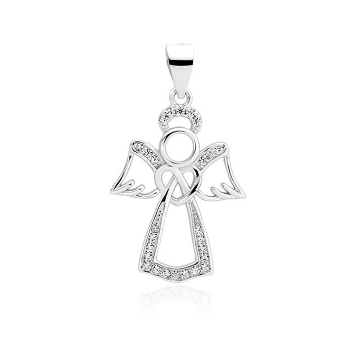 Srebrny wisiorek aniołek anioł cyrkonie