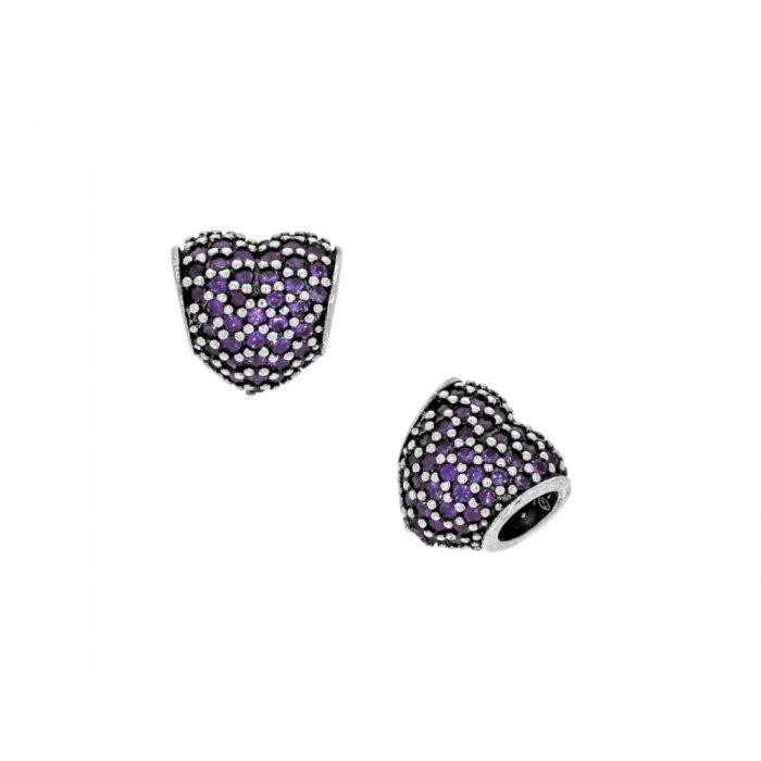 Srebrny koralik modułowy Beads fioletowe serce
