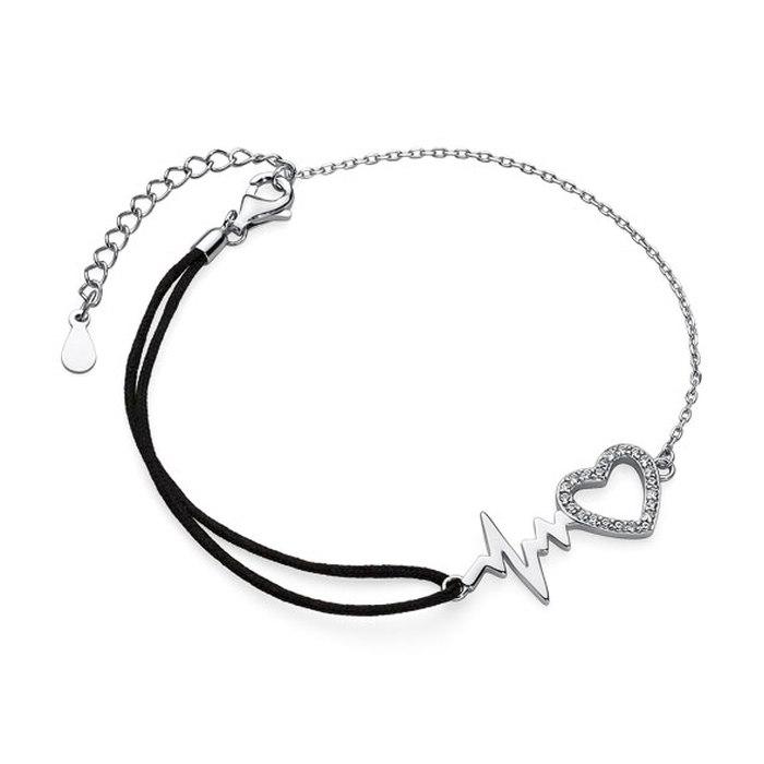 Srebrna bransoletka serce puls sznurek