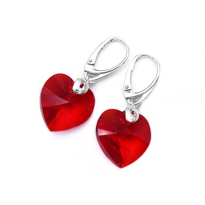 Srebrne kolczyki serca 18 mm kryształy Swarovski