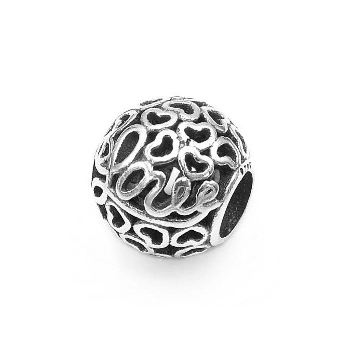 Srebrny ażurowy koralik beads serca Love