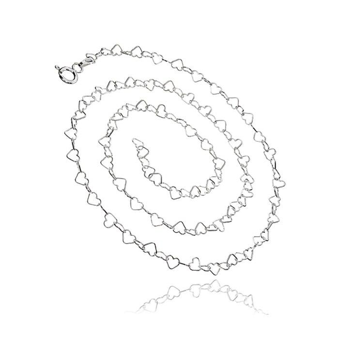 Srebrny łańcuszek 45 cm serduszka