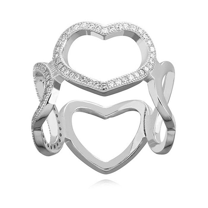 Duży srebrny pierścionek z cyrkoniami serca