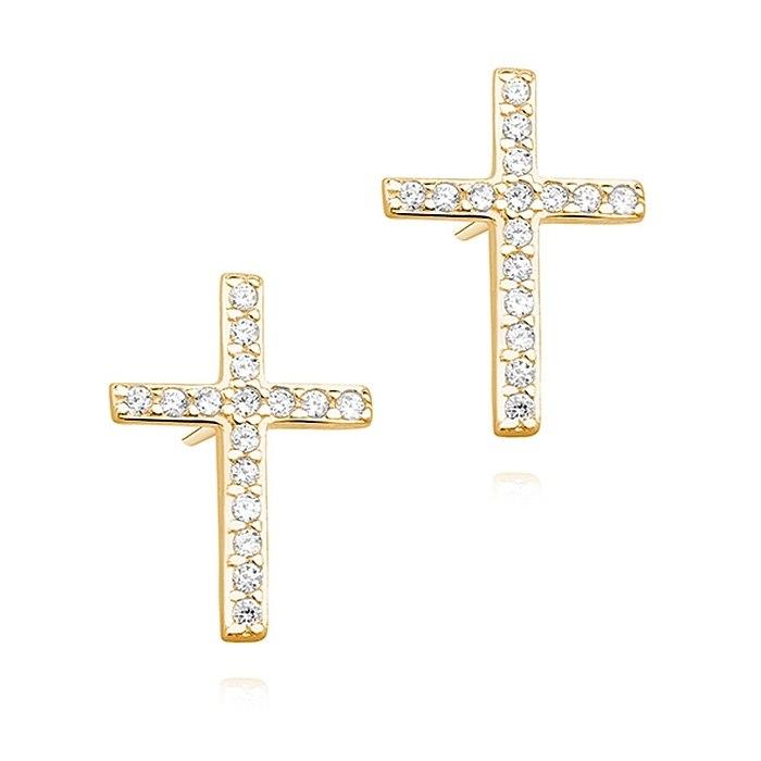 Pozłacane kolczyki krzyże z cyrkoniami