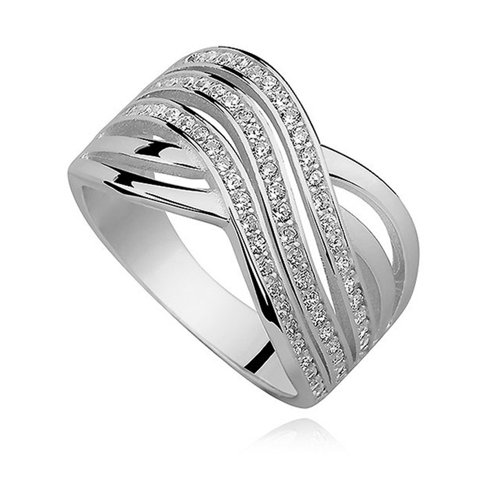 Solidny, srebrny pierścionek cyrkonie