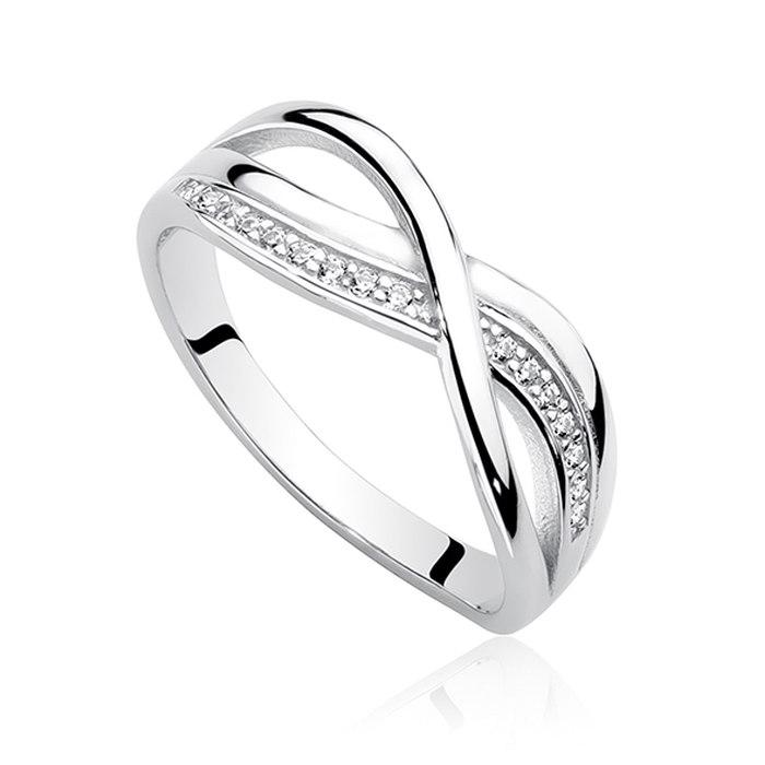 Srebrny zdobiony pierścionek cyrkonie