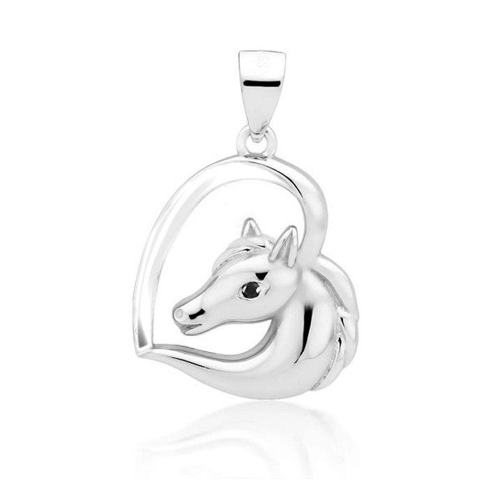 Srebrny wisiorek serce z koniem konik