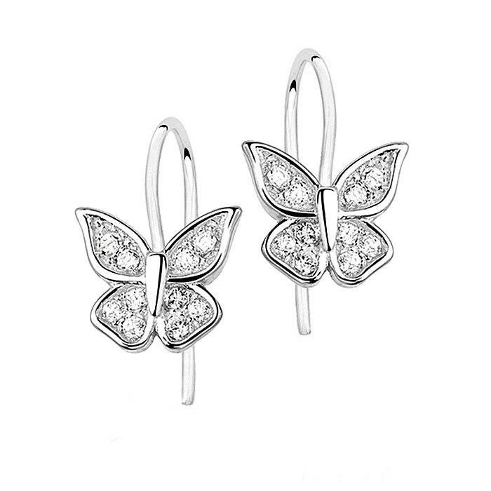 Srebrne kolczyki motylki crystal